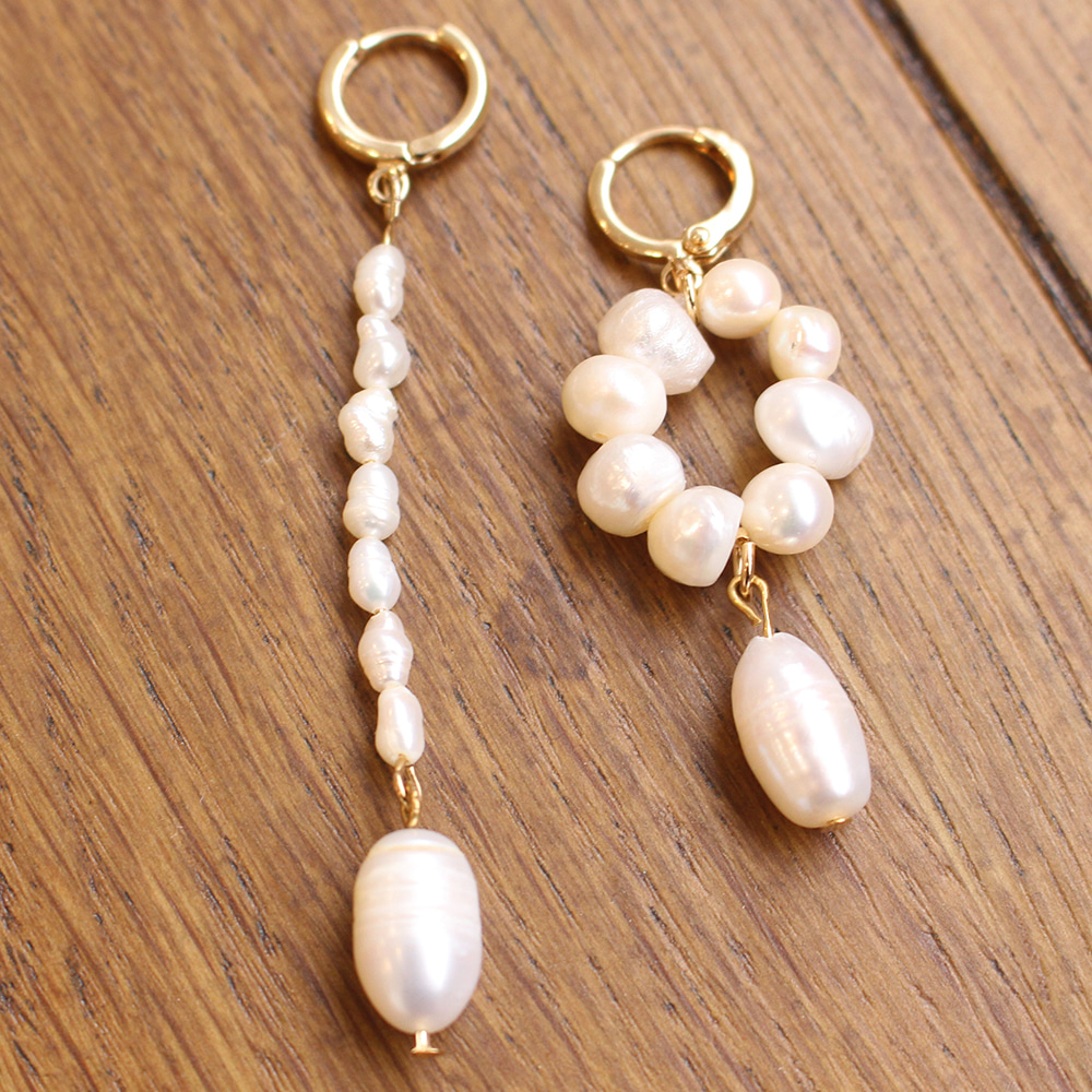 Mismatched Pearl Earing -10%Sale