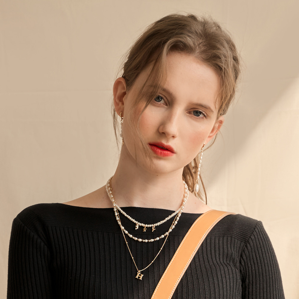 Star Initial Pearl Necklace(주문관리)-10%Sale